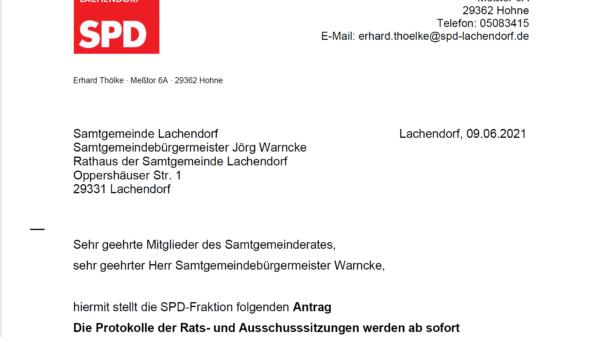 Samtgemeindefraktion Antrag Protokollveroeffentlichung